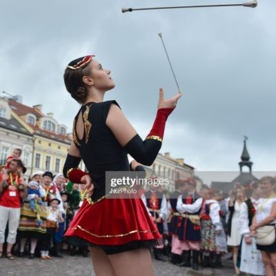 Members of 'Incanto' - a local group of majorettes during the opening ceremony of the 17th edition of World Festival of Polish Diaspora Folkloric Groups (Polish: Swiatowy Festiwal Zespolow Polonijnych) in Rzeszow's Main Square. Over fortry folkloric groups from five continents take part in this year's Festival edition.  On Friday, July 21, 2017, in Rzeszow, Poland. (Photo by Artur Widak/NurPhoto via Getty Images)